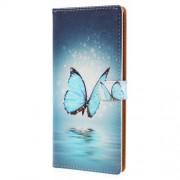 Δερμάτινη Θήκη Πορτοφόλι με Βάση Στήριξης για Nokia 7 plus - Μπλε Πεταλούδα