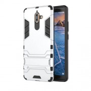 Cool Guard PC TPU Combo Mobile Cover with Kickstand for Nokia 7 plus - Silver