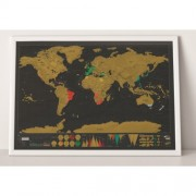 Black Deluxe Scratch Off World Map, Size: 82.5cm x 59.4cm