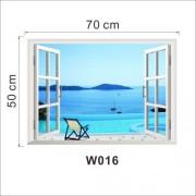 Διακοσμητική Αυτοκόλλητη Αφίσα Τοίχου (50 x 70cm) - Παράθυρο που Φαίνεται η Παραλία