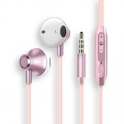3.5mm In-ear Mega Bass Metal Headphone with Drive-by-wire Control for Samsung Note 8/S8/S8 Plus - Rose Gold Color