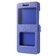 For Xiaomi Mi Note 3 Silk Texture Double Window Stand Leather Case Cover - Blue