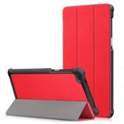 Δερμάτινη Θήκη Βιβλίο Tri-Fold με Βάση Στήριξης για Lenovo Tab 7 Essential / Tab4 7 Essential (TB-7304F) - Κόκκινο