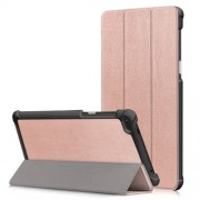 Δερμάτινη Θήκη Βιβλίο Tri-Fold με Βάση Στήριξης για Lenovo Tab 7 Essential / Tab4 7 Essential (TB-7304F) - Ροζέ Χρυσαφί