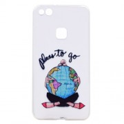 Ultra Thin Patterned Soft TPU Cell Phone Case for Huawei P10 Lite - Girl Embracing Globe