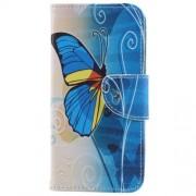Δερμάτινη Θήκη Πορτοφόλι με Βάση Στήριξης για Samsung Galaxy S9 - Μπλε Πεταλούδα