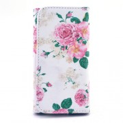 Patterned Leather Wallet Pouch for Samsung Galaxy S6 edge+ / Note5, Size: 155 x 80 x 15mm - Elegant Roses