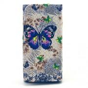 Universal Δερμάτινη Θήκη Πορτοφόλι για Κινητά με Μέγεθος 155 x 80 x 15mm - Πεταλούδες με Λουλούδια