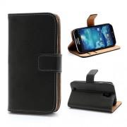 Δερμάτινη Θήκη Πορτοφόλι με Βάση Στήριξης για Samsung Galaxy S4 i9500 i9505 - Μαύρο