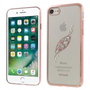 X-FITTED Σκληρή Θήκη με Φαντεζί Πέτρες και Μεταλλιζέ Bumper Σχέδιο Φύλλο για iPhone 8 / 7 - Ροζέ Χρυσαφί