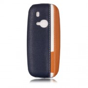 Contrast Color PU Leather Coated PC Mobile Phone Case for Nokia 3310 (2017) - Dark Blue