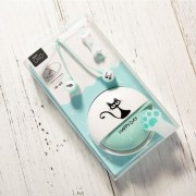 Cute Cartoon Cat Corded In-ear Headset with Mic and Cable Winder for iPhone Samsung Huawei etc. - Blue