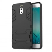 Shockproof PC + TPU Hybrid Kickstand Phone Case for Meizu M6 Note - Black
