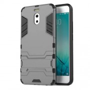 Shockproof PC + TPU Hybrid Kickstand Phone Shell for Meizu M6 Note - Grey