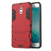 Shockproof PC + TPU Hybrid Kickstand Phone Casing for Meizu M6 Note - Red