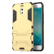 Shockproof PC + TPU Hybrid Kickstand Mobile Phone Case for Meizu M6 Note - Gold
