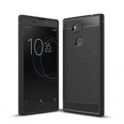 For Sony Xperia L2 Carbon Fiber Texture Brushed TPU Case - Black