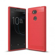 For Sony Xperia L2 Carbon Fiber Texture Brushed TPU Shell - Red