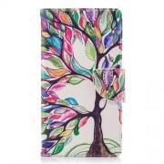 Δερμάτινη Θήκη Πορτοφόλι με Βάση Στήριξης για Sony Xperia L2 - Δέντρο με Πολύχρωμα Φύλλα