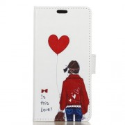 For Sony Xperia XA2 Pattern Printing Leather Wallet Stand Phone Cover - Girl Holding Heart Balloon