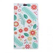 Δερμάτινη Θήκη Πορτοφόλι με Βάση Στήριξης για Sony Xperia XA2 - Λουλούδια και Φύλλα