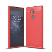 Carbon Fibre Brushed TPU Back Case for Sony Xperia XA2 Ultra - Red