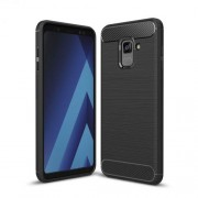 Carbon Fiber Texture Brushed TPU Cell Phone Case for Samsung Galaxy A8 Plus (2018) - Black