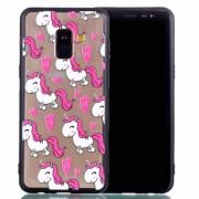 Θήκη Σιλικόνης TPU με Σκληρή Πλάτη για για Samsung Galaxy A8 Plus (2018) - Ροζ Μονοκεράκια
