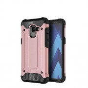 Armor Guard Plastic + TPU Hybrid Cell Phone Case for Samsung Galaxy A8 (2018) - Rose Gold