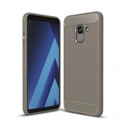 Carbon Fiber Texture Brushed Soft TPU Back Cover for Samsung Galaxy A8 (2018) - Grey