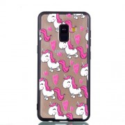 Rubberized Embossed Soft TPU Mobile Phone Cover for Samsung Galaxy A8 (2018) - Pink Unicorns