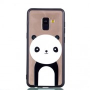 Rubberized Embossed Soft TPU Mobile Phone Case Cover for Samsung Galaxy A8 (2018) - Panda