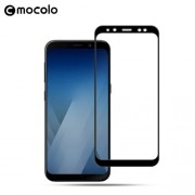 MOCOLO Silk Print Arc Edge Complete Coverage Tempered Glass Screen Protector Guard Film for Samsung Galaxy A8 (2018) - Black