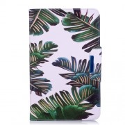 Patterned Leather Wallet Stand Smart Shell for Samsung Galaxy Tab A 10.1 (2016) - Banana Leaves