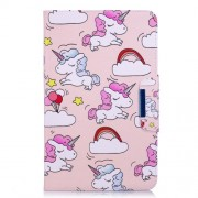 Patterned Leather Smart Cover Case for Samsung Galaxy Tab A 10.1 (2016) - Unicorns and Cloud
