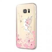 KINGXBAR Θήκη Σιλικόνης TPU με Ανάγλυφο Άγγελο και Στρας για Samsung Galaxy S7 G930 - Ροζ