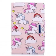 Pattern Printing Smart Leather Stand Cover Shell for Samsung Galaxy Tab E 9.6 T560 - Unicorns and Cloud