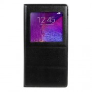 Window View Leather Smart Cover Housing for Samsung Galaxy Note 4 N910 - Black