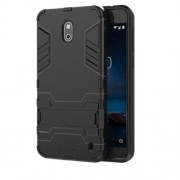 Cool Guard PC TPU Hybrid Case with Kickstand for Nokia 2 - Black