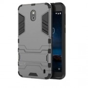 Cool Guard PC TPU Hybrid Shell with Kickstand for Nokia 2 - Grey