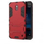 Cool Guard PC TPU Combo Back Phone Case with Kickstand for Nokia 2 - Red