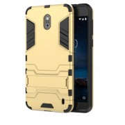 Cool Guard PC TPU Hybrid Phone Cover with Kickstand for Nokia 2 - Gold