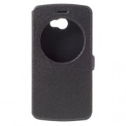 Hollow View Window Leather Stand Case for LG K5 - Black