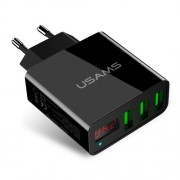 USAMS US-CC035 5V 2.4A 3-port Travel Adapter Wall Charger with Screen Display for iPhone Samsung etc. - EU Plug/Black