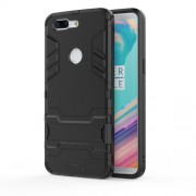 Cool Plastic TPU Hybrid Mobile Cover with Kickstand for OnePlus 5T - Black