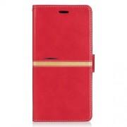 Δερμάτινη Θήκη Πορτοφόλι με Βάση Στήριξης με Ρίγα για Xiaomi Mi Max 2 - Κόκκινο