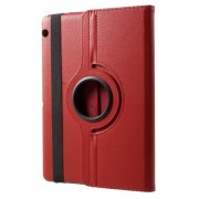 For Huawei MediaPad T3 10 Litchi Grain 360 Degree Rotary Stand Leather Tablet Case - Red
