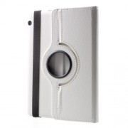 For Huawei MediaPad T3 10 Litchi Grain 360 Degree Rotary Stand Leather Cover - White