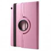 For Huawei MediaPad T3 10 Litchi Grain 360 Degree Rotary Leather Stand Cover - Pink