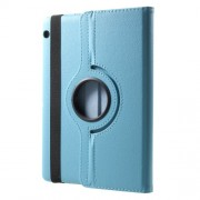 For Huawei MediaPad T3 10 Litchi Grain 360 Degree Rotary Stand Leather Shell - Baby Blue